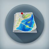 City map, long shadow vector icon