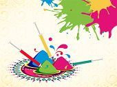 Indian festival Happy Holi concept with colours powder on beautiful floral decorated background.