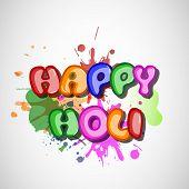 Indian festival Happy Holi celebrations concept with stylish glossy text on colours splash grey background.