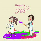 Indian festival Happy Holi concept with cute little kids playing colours on abstract colours splash background.