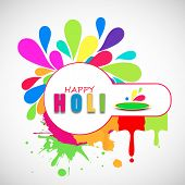 Indian festival Happy Holi celebrations concept with stylish text on colourful floral decorated background.