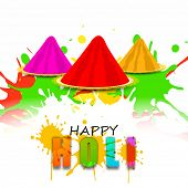 Indian festival Happy Holi celebrations concept with stylish text and colours on colours splash background.