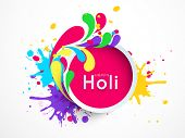 Indian festival Happy Holi celebrations sticky decorated by beautiful colourful floral design and sp