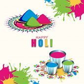 Indian festival Happy Holi celebrations concept with colours buckets on colours splash background.