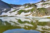 High Altitude Alpine Tundra And Lake With Reflection In Colorado During Summer