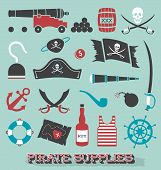 stock photo of skull cross bones  - Collection of retro flat style pirate icons and symbols - JPG
