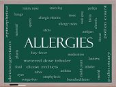 Allergies Word Cloud Concept On A Blackboard