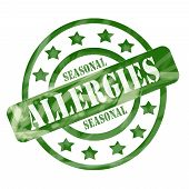 Green Weathered Seasonal Allergies Stamp Circles And Stars