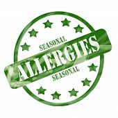 Green Weathered Seasonal Allergies Stamp Circle And Stars