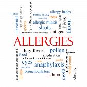 image of rhinitis  - Allergies Word Cloud Concept with great terms such as food pollen mold and more - JPG