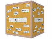 stock photo of pegboard  - GPS 3D cube Corkboard Word Concept with great terms such as global satellite route and more - JPG
