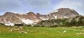 Panoramic View Of High Alpine Tundra In Rawah Wilderness, Colorado During Summer