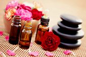 foto of carnation  - bottle of flower essential oil with fresh carnation flowers   - JPG
