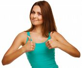 woman girl shows positive sign thumbs yes