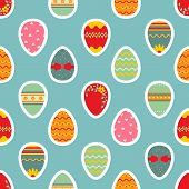 Seamless Easter Pattern With Eggs.