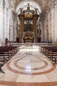 Baroque altar under baldachin. Church of the Sao Vicente de Fora Monastery. Very important monument in Lisbon, Portugal. 17th century Mannerism