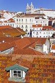 Sao Vicente de Fora Monastery seen from Miradouro das Portas do Sol (terrace) with Alfama District r