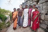 Foreign Woman With Indian Women In Mamallapuram