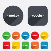 Code sign icon. Programming language symbol.