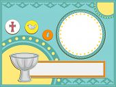 Baptismal Invitation Illustration Featuring a Baptismal Font and Other Religious Icons