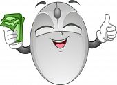Mascot Illustration Featuring a Computer Mouse Holding Cash in One Hand and Doing a Thumbs Up with t