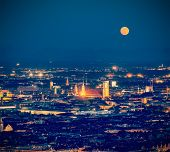 pic of munich residence  - Vintage retro hipster style travel image of night aerial view of Munich from Olympiaturm  - JPG