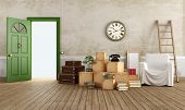 image of old suitcase  - Vintage interior with cardboard boxes - JPG