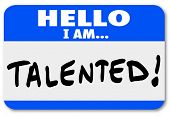 Hello I Am Talented Name Tag Sticker Job Fair Networking