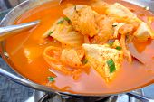 stock photo of kimchi  - Closeup view of Chinese food tofu soup with kimchi