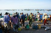 Crowed Atmosphere At Seafood Market On Beach