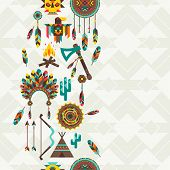 image of tomahawk  - Ethnic seamless pattern in native style - JPG