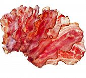 foto of crisps  - Stack of Bacon Fried Crisp Slices isolated On White Background - JPG