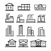 vector black buildings and factories icons set