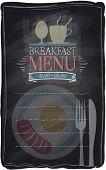 Vintage chalk breakfast menu, chalkboard background. Eps10