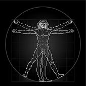 The Vitruvian man, or so called Leonardo's man. Detailed drawing. Invert version.