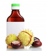 image of auburn  - green and brown chestnuts and medical bottle isolated on white - JPG