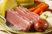 stock photo of brisket  - Homemade Corned Beef and Cabbage with Potatoes and Carrots - JPG