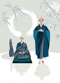 stock photo of samadhi  - A Zen Master and one of his disciples in a Zen garden - JPG