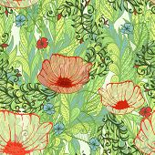 Seamless Green Spring Floral Background With Hand Drawn Poppy Flowers Field. Eps10