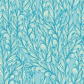 Seamless Floral Vintage  Monochrome Doodle Pattern With Abstract Blue Feathers