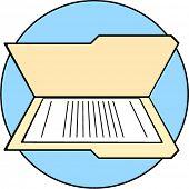 stock photo of manila paper  - folder with paper - JPG