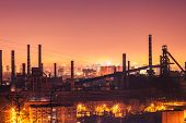 Steel plant in silhouette image at night