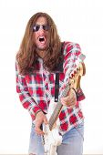 Man With Face Expression With Sunglasses Playing Electric Bass Guitar