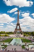 The Eiffel Tower And Fountains Of Trocadero In Paris France
