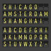 Airport terminal arrival/departure timetable, information board, display alphabet. Vector.