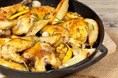 Frying Pan with Roasted chicken