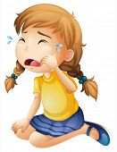 image of sob  - Illustration of a little girl crying on a white background - JPG