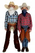 Two Young Cowboys With Bandannas Covering Their Faces