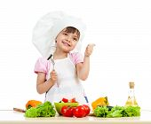 Chef Girl Preparing Healthy Food Over White Background