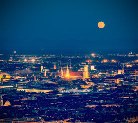picture of munich residence  - Vintage retro hipster style travel image of night aerial view of Munich from Olympiaturm  - JPG